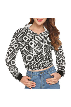 I LOVE YOU bw All Over Print Crop Hoodie for Women - Objet D'Art Online Retail Store