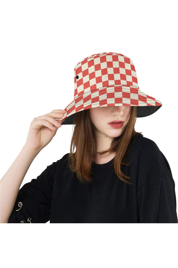 Coral Orange Checker All Over Print Bucket Hat