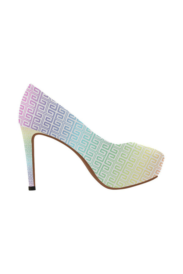 Greek Key Rainbow Women's High Heels - Objet D'Art Online Retail Store