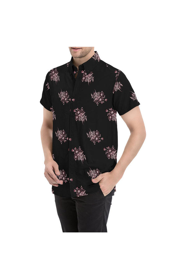 Midnight Black Floral Men's All Over Print Short Sleeve Shirt/Large Size (Model T53)
