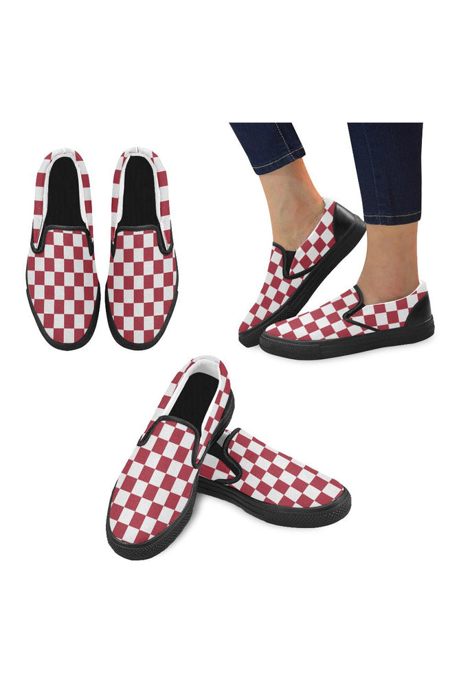 Red Checker Men's Slip-on Canvas Shoes