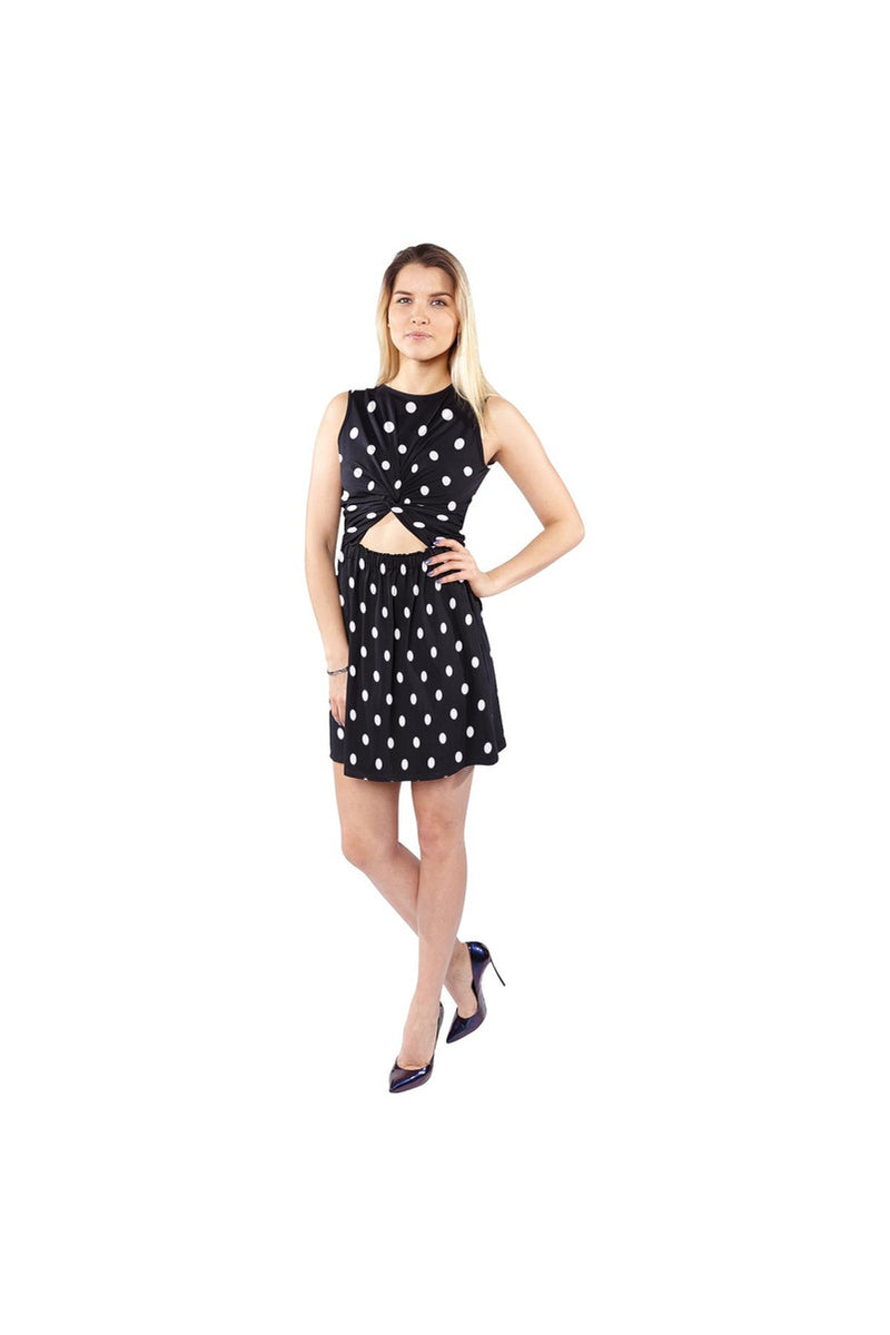 Black Polka Dot Sleeveless Cutout Waist Knotted Dress - Objet D'Art Online Retail Store