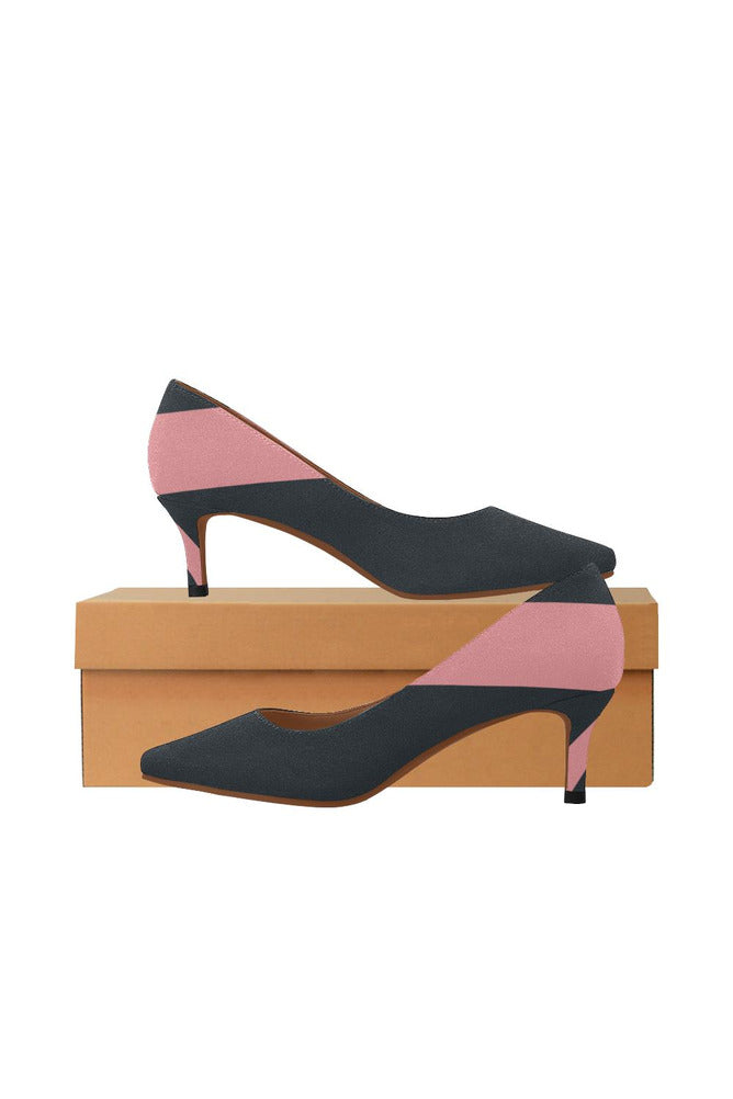 Bold Pink Stripe Women's Pointed Toe Low Heel Pumps - Objet D'Art Online Retail Store
