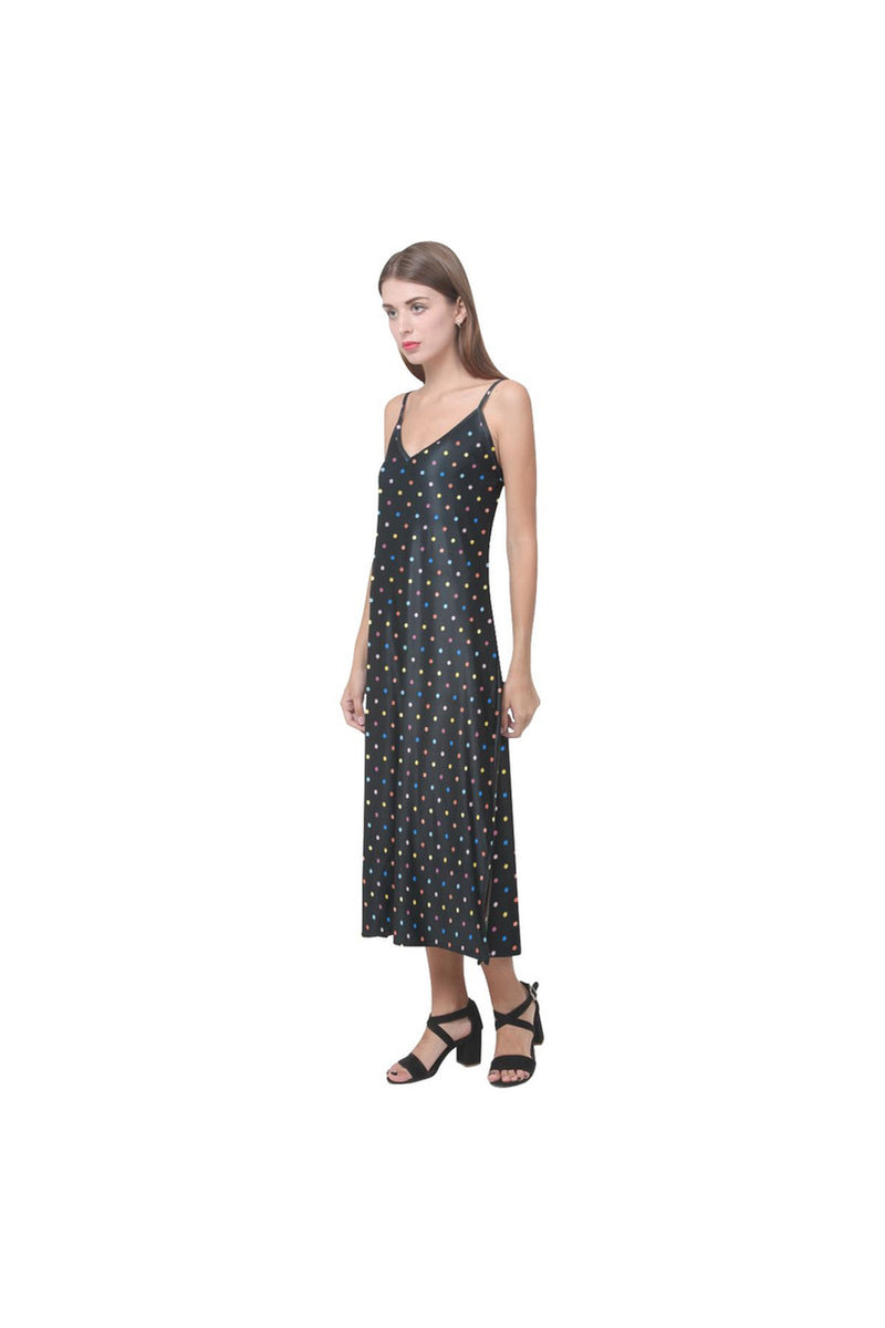 Colorful Polka Dot V-Neck Open Fork Long Dress(Model D18)