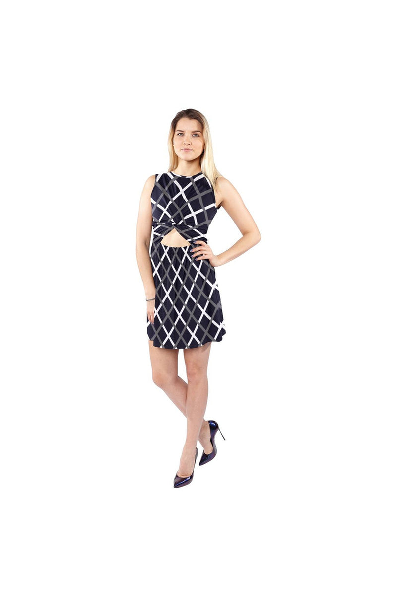 Cross Hatch Sleeveless Cutout Waist Knotted Dress - Objet D'Art Online Retail Store