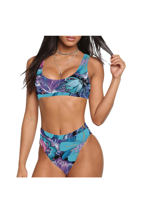 floral mad 6 Sport Top & High-Waisted Bikini Swimsuit (Model S07)