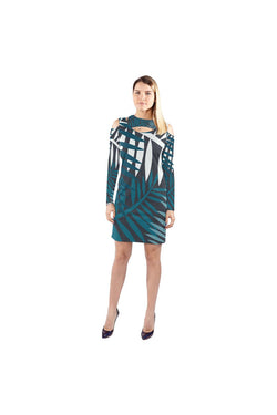 leafy Cold Shoulder Long Sleeve Dress - Objet D'Art Online Retail Store