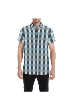 Plaid Large Men's All Over Print Short Sleeve Shirt/Large Size