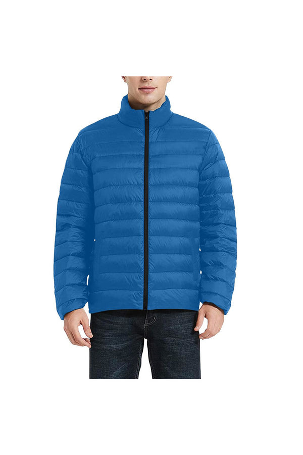 Blue Men's Stand Collar Padded Jacket (Model H41)