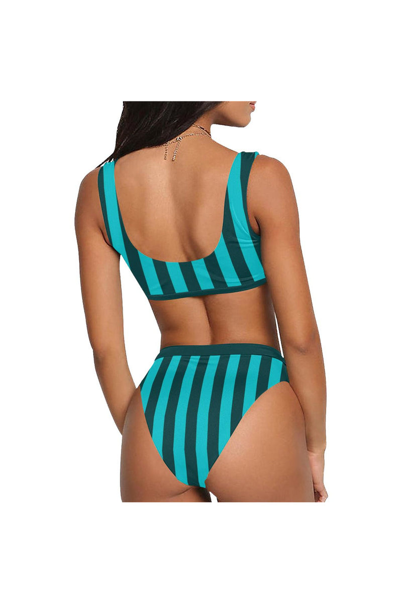 top band aqua Sport Top & High-Waisted Bikini Swimsuit (Model S07)