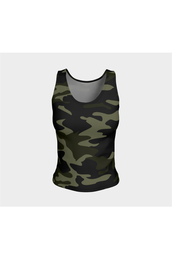 Dark Green Camouflage Fitted Tank Top