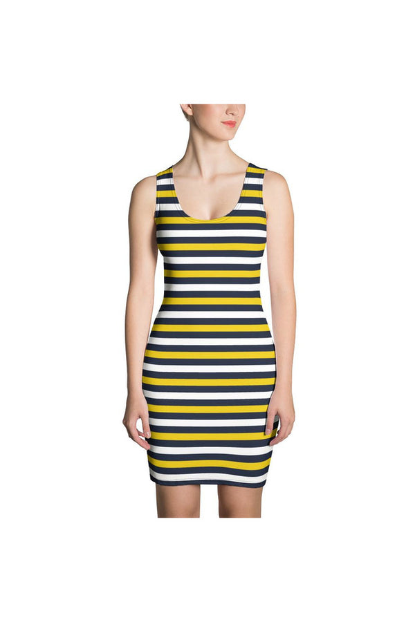 Blue and Gold Striped Sublimation Cut & Sew Dress