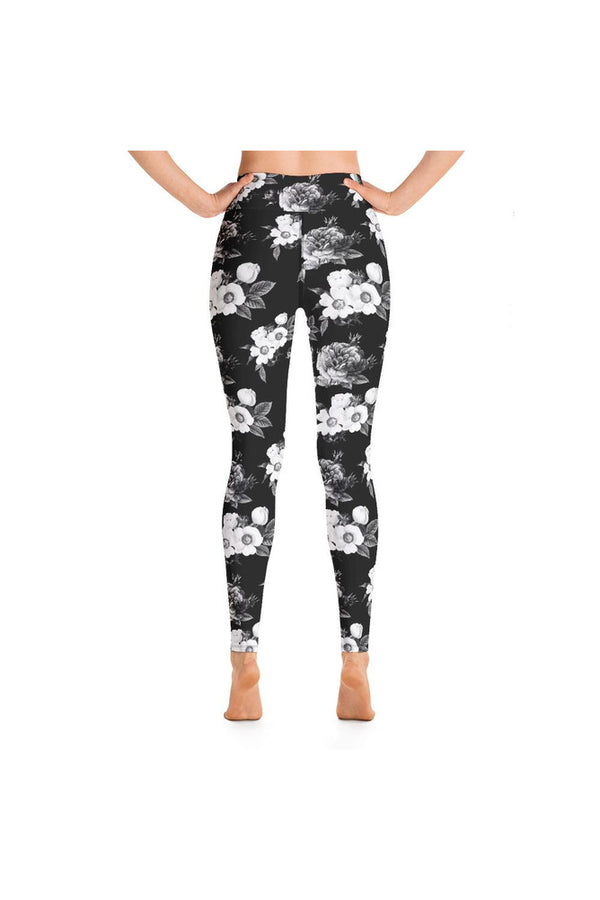 Dark Floral Print Yoga Leggings