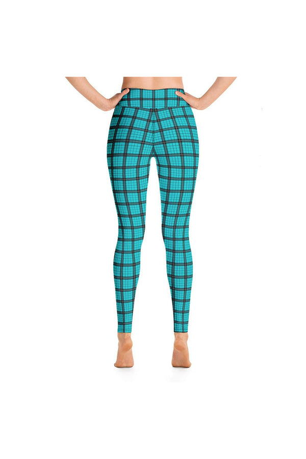 Robin's Egg Blue Plaid Yoga Leggings