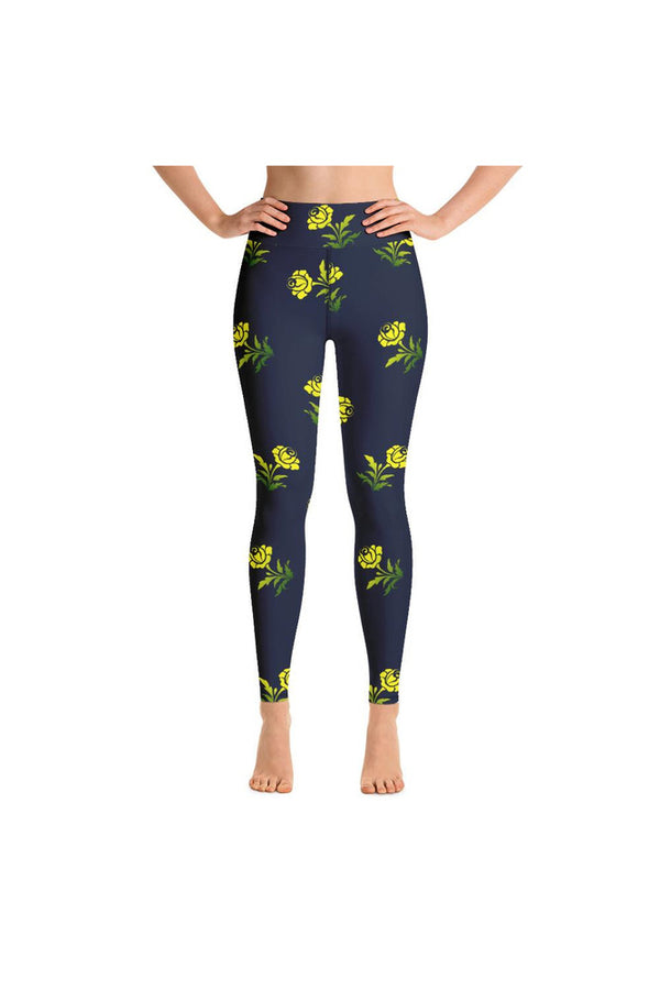 Yellow Flowers on Blue Yoga Leggings