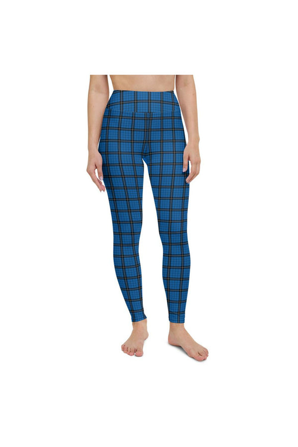Blue Plaid Yoga Leggings