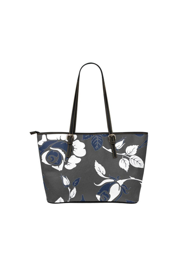 Delft Roses at Dawn Leather Tote Bag/Small