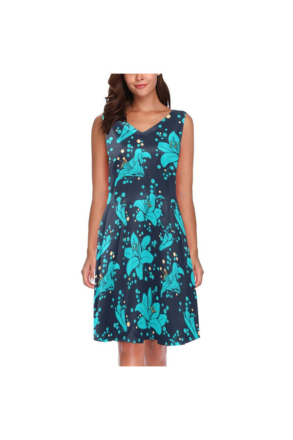 Botany in Blue Chryseis Sleeveless Pleated Dress