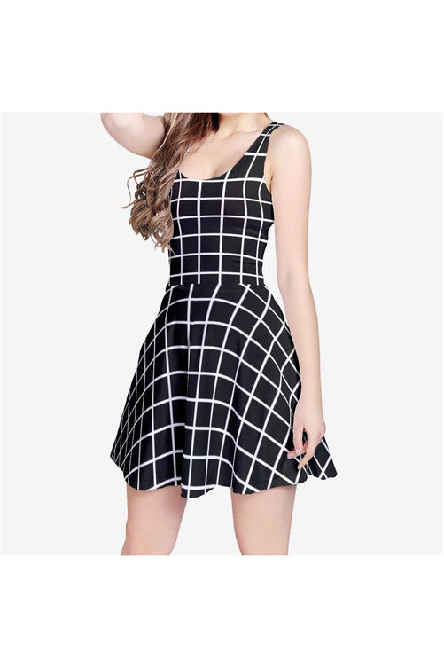 Grid Times Women's Sleeveless Midi Casual Flared Skater Dress