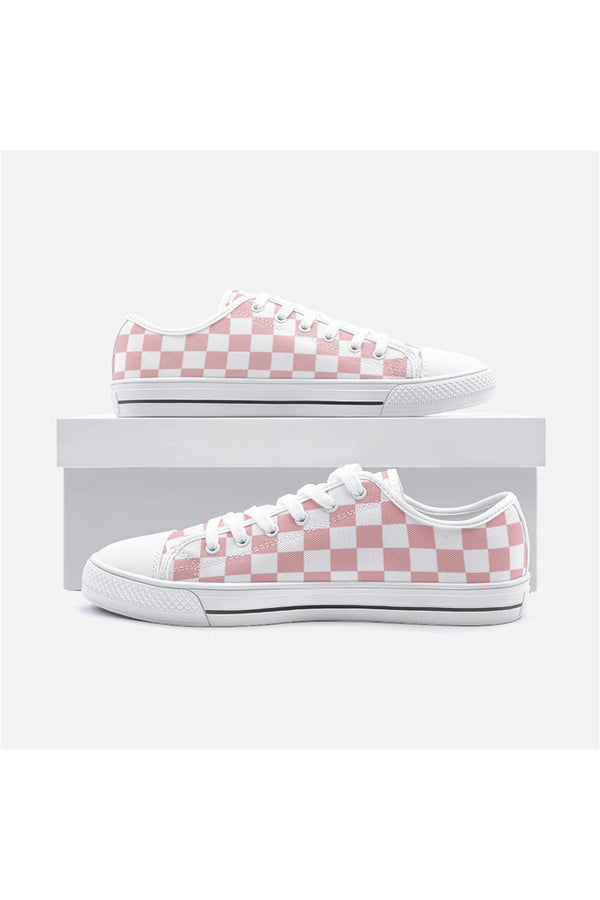 Pressed Rose Checkered Unisex Low Top Canvas Shoes