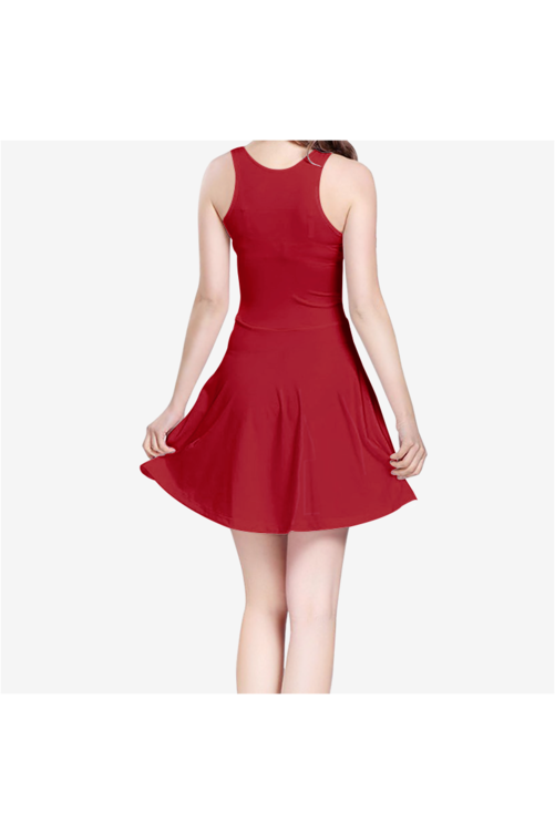 Burgundy Wine Women's Sleeveless Midi Casual Flared Skater Dress