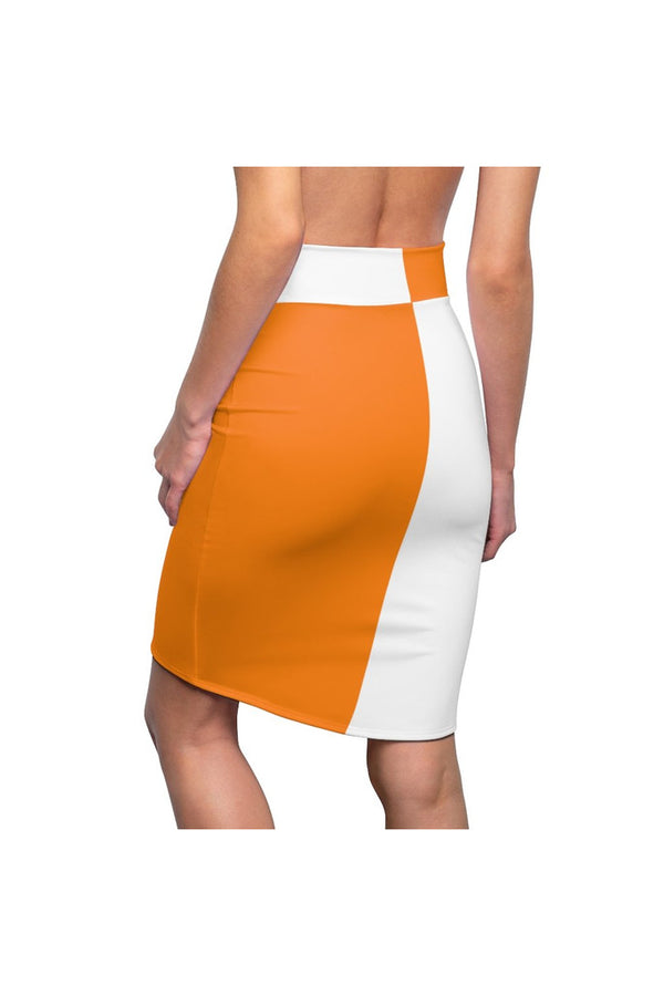 Two-Toned Turmeric/White Women's Pencil Skirt