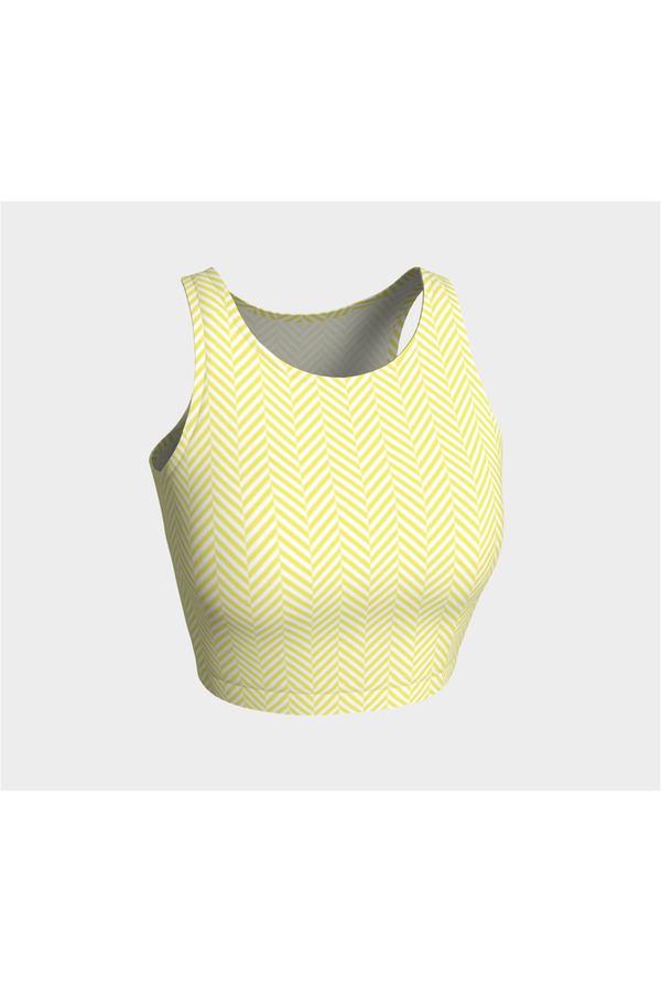 Yellow & White Herringbone Athletic Top