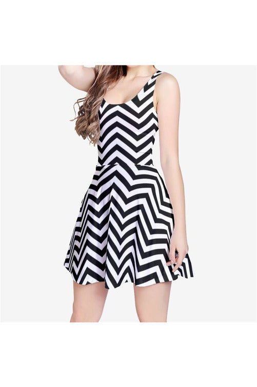 Chevron Palace Women's Sleeveless Midi Casual Flared Skater Dress
