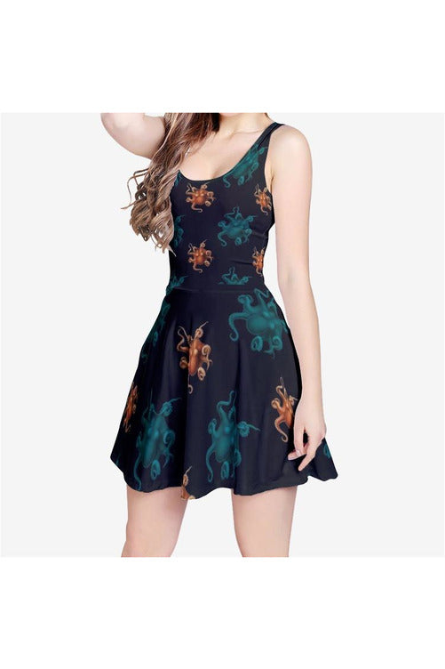 Octopi Wallstreet Women's Sleeveless Midi Casual Flared Skater Dress