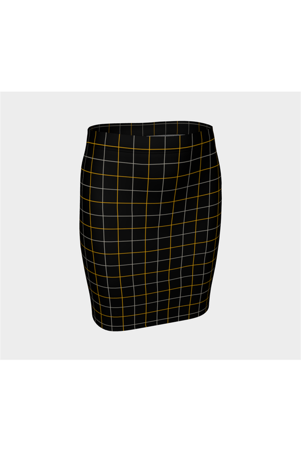 Black and Gold Tattersall Fitted Skirt - Objet D'Art Online Retail Store