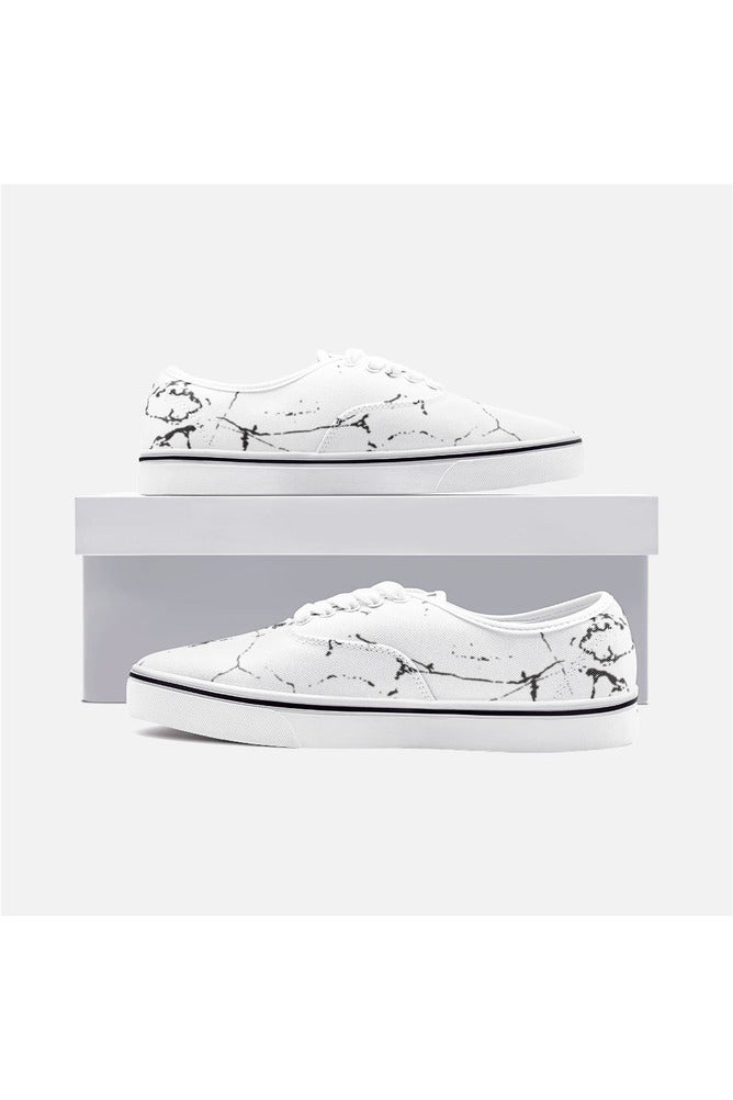 White Marble Unisex Canvas Sneakers