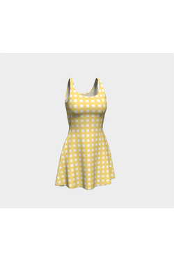 Yellow Gingham Flare Dress