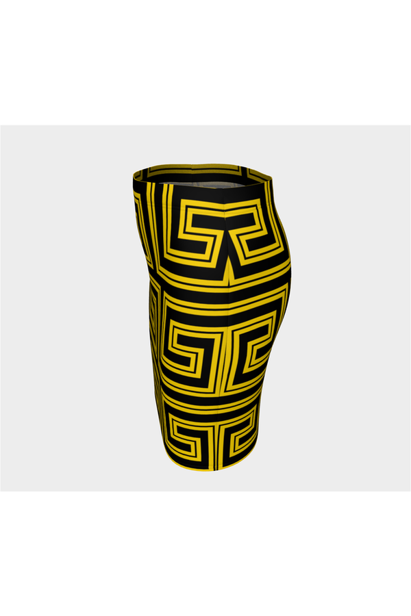 Gold Greek Key Fitted Skirt - Objet D'Art Online Retail Store