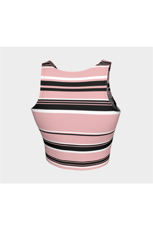 Pressed Rose & Black and White Stripes Athletic Top
