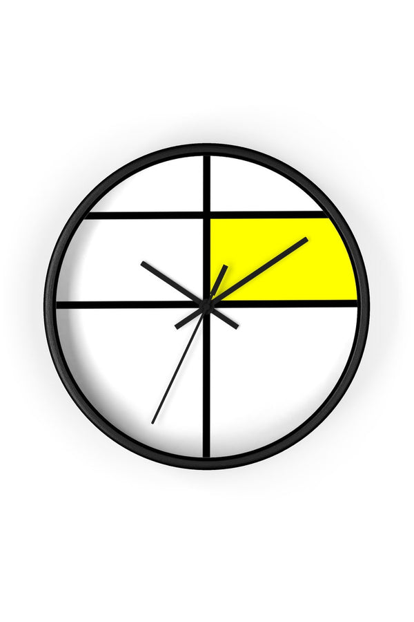 Piet Mondrian style design: YELLOW Wall clock