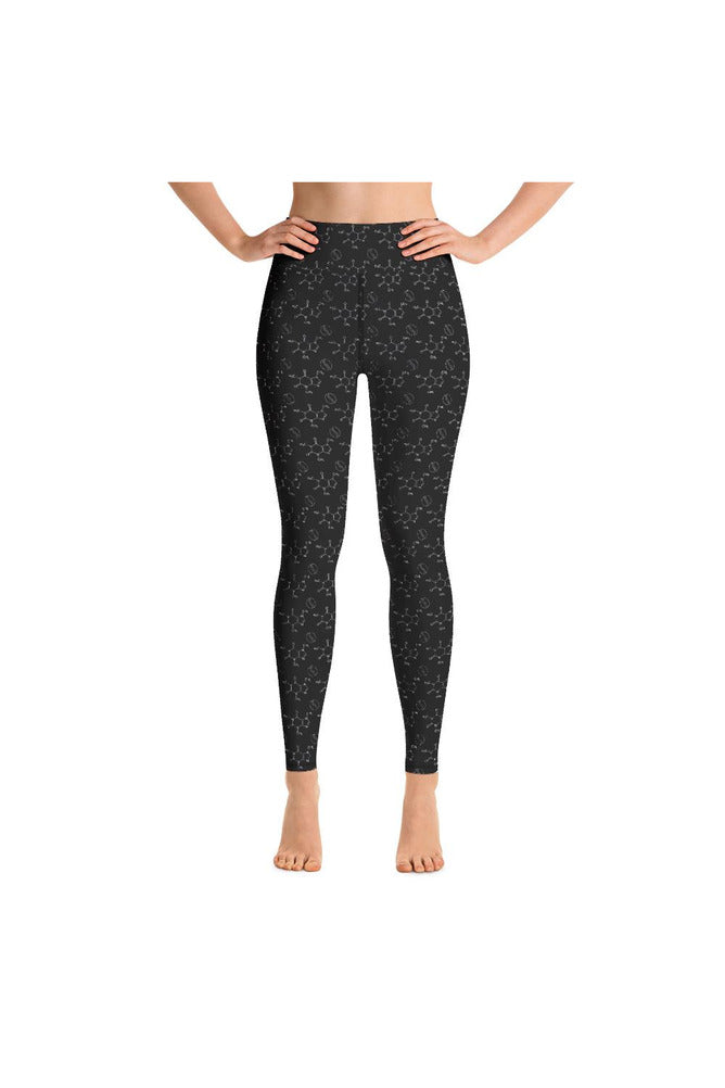 Caffeine Beans and Molecules Yoga Leggings