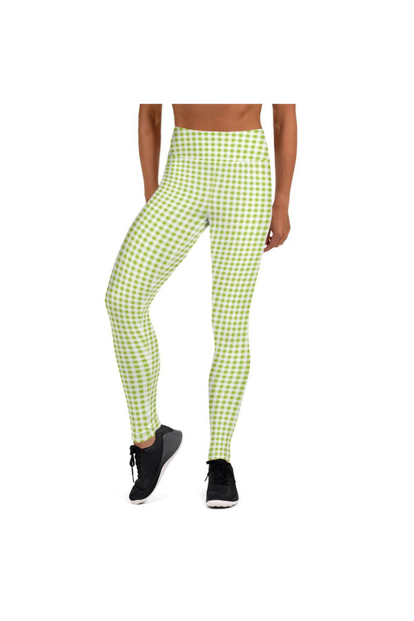 Lime Green Gingham Yoga Leggings