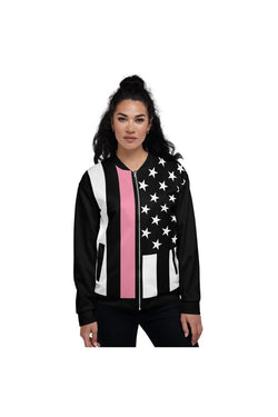 Chaqueta bomber unisex de línea rosa fina de Cancer Awareness