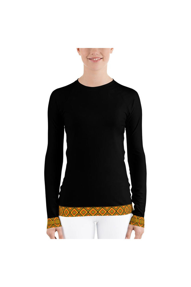 Kente Accented Women's Rash Guard