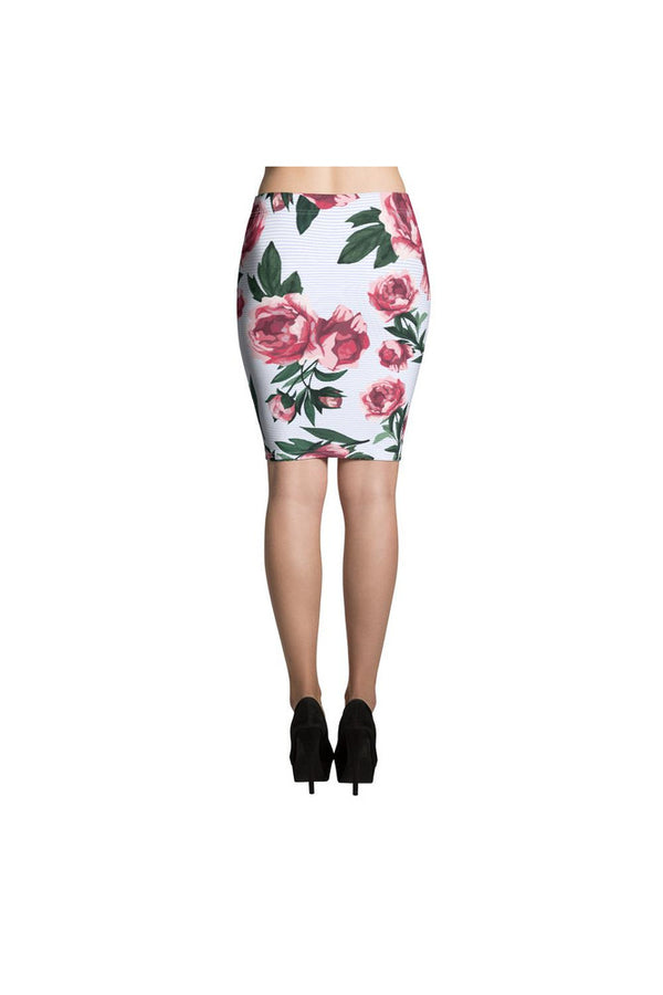 Pink Rose on Micro Blue Stripes Pencil Skirt