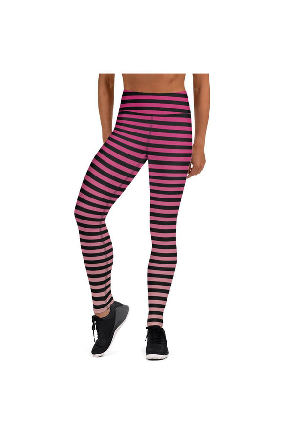 Pink Gradient & Stripes Yoga Leggings