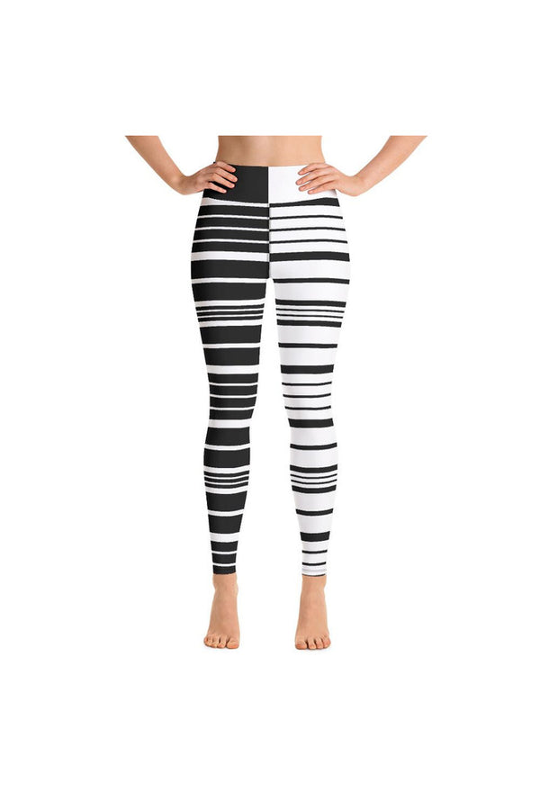 Black and White Striped United Yoga Leggings