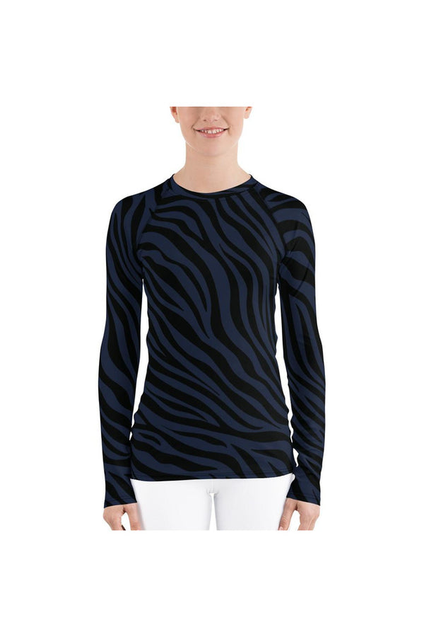 Blue Striped Tiger Print Women's Rash Guard