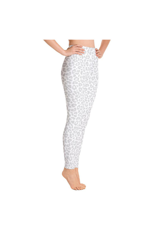 Silver & White Leopard Print Yoga Leggings