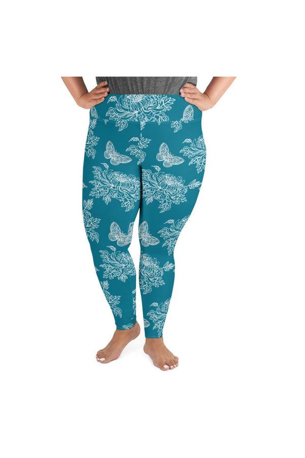 Chrysanthemums & Butterflies on Mosaic Blue Plus Size Leggings