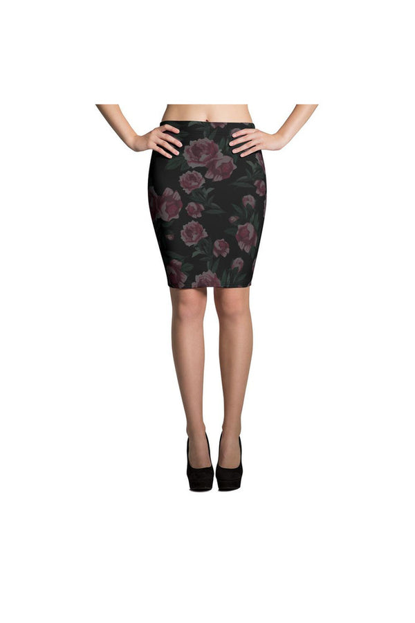 Pink Roses in the Mist Pencil Skirt