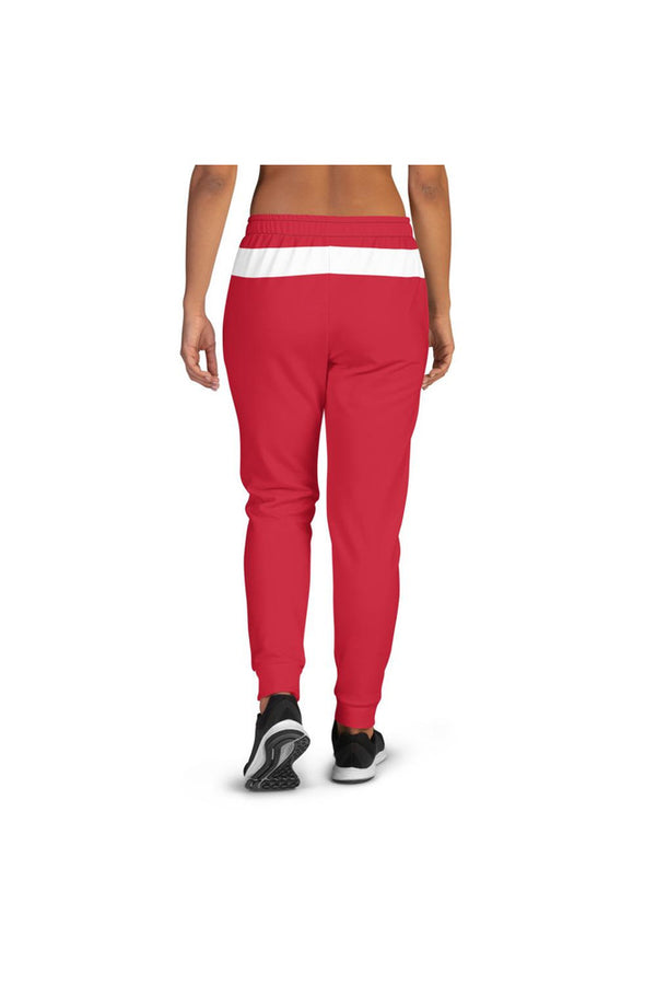 White Band & Stipe on Red Women's Joggers