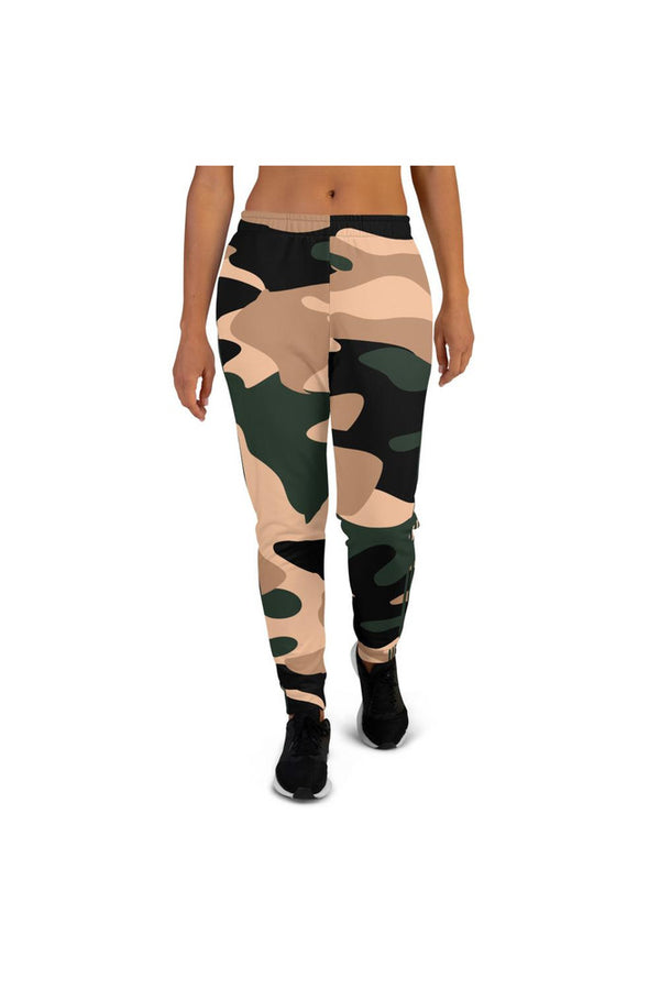 Woodland Camouflage & Green Stripe Women's Joggers