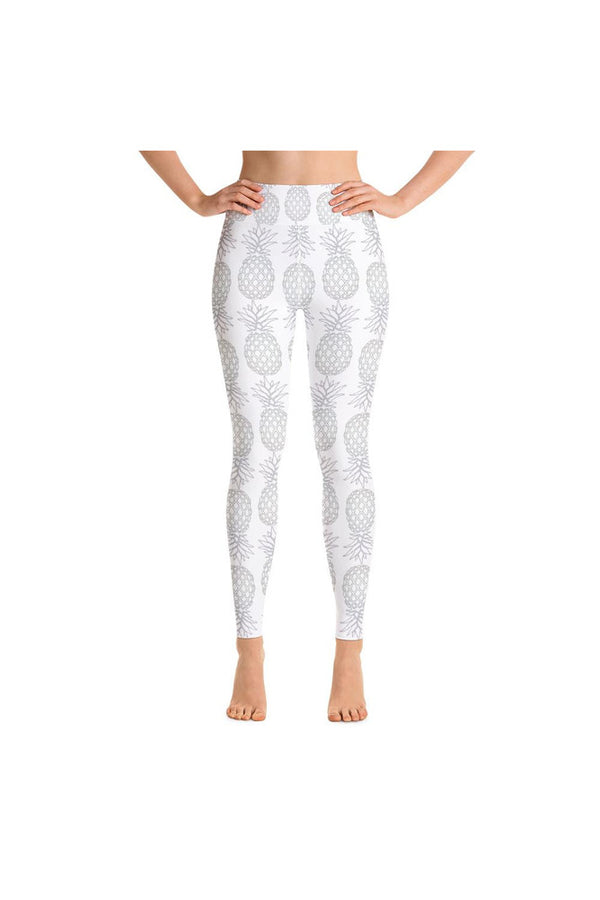 Silver Pineapples on White Yoga Leggings