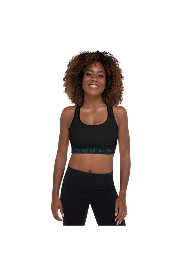Jade & Black Periodic Table Padded Sports Bra